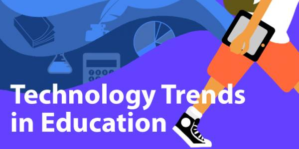A Blue Colored Image that shows the text Technological Trends in Education with a student keep a lap in his hand